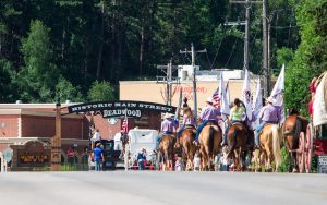 Watch as horses ride through main street of Historic Deadwood South Dakota