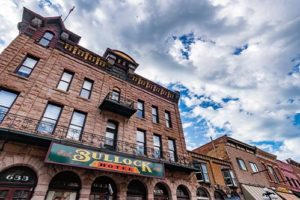 Close up of Historic Bullock Hotel on a sunny day