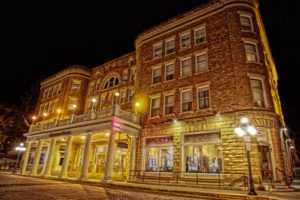 Deadwood hotel with lights on